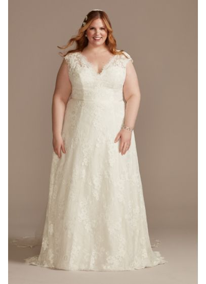 Illusion Cap Sleeve Lace Plus Size Wedding Dress - Crafted from romantic Chantilly lace, this simple wedding