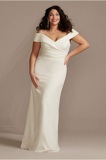 Plus Crepe Off-the-Shoulder Sheath Wedding Dress