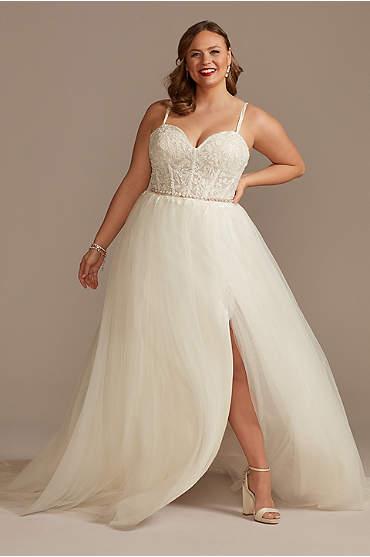 Sheer Boned Bodice Tulle Plus Size Wedding Dress
