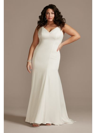 Crepe Back Satin Spaghetti Strap Plus Size Dress - Ideal for the chic, understated bride, this 90s-inspired