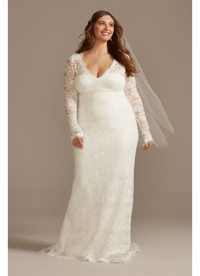 Long Sleeve Lace Plus Wedding Dress with Tie - This boho lace wedding dress gets romantic touches