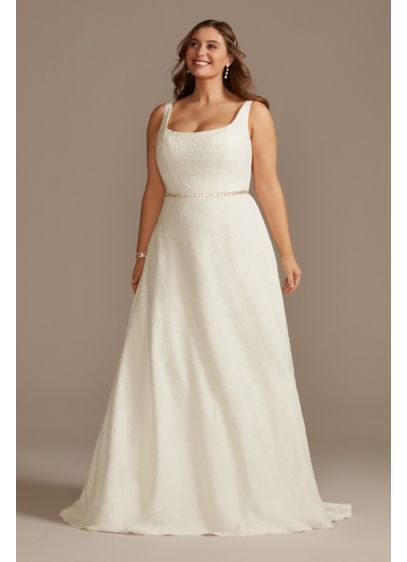 Lace A-Line Square Neck Plus Size Wedding Dress - This modern lace tank wedding dress is full