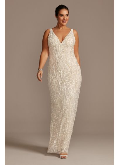 Beaded Matte Sequin V-Neck Plus Size Sheath Dress - This sheath dress is covered in a pattern
