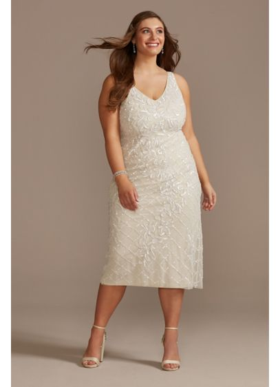 Beaded Sheath V-Neck Plus Midi Dress with Low - This unique wedding dress comes in a midi