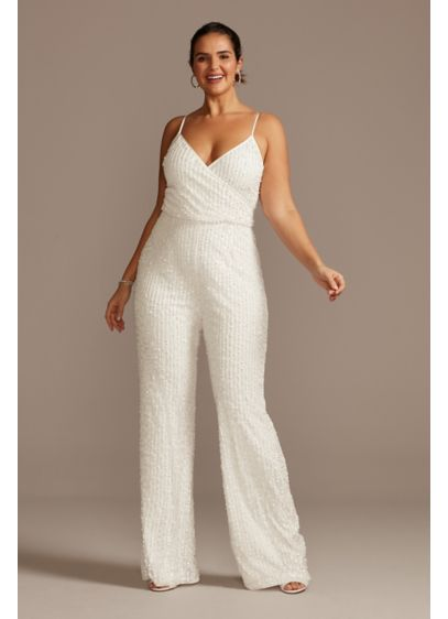 Pearl Sequin Spaghetti Strap Plus Size Jumpsuit - Perfect for a second outfit or a modern