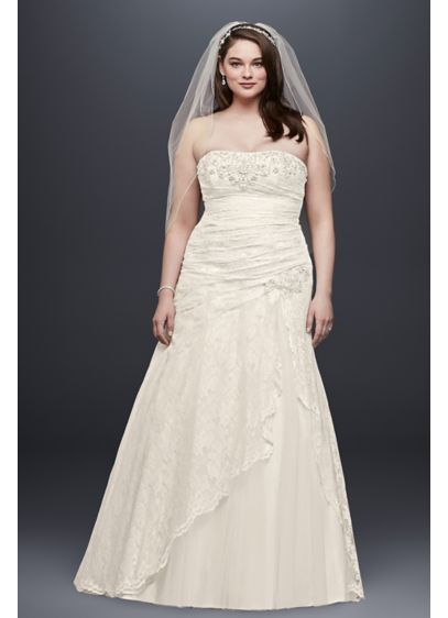 Lace A-line Side Split Plus Size Wedding Dress - Effortlessly beautiful, this lace wedding gown combines a