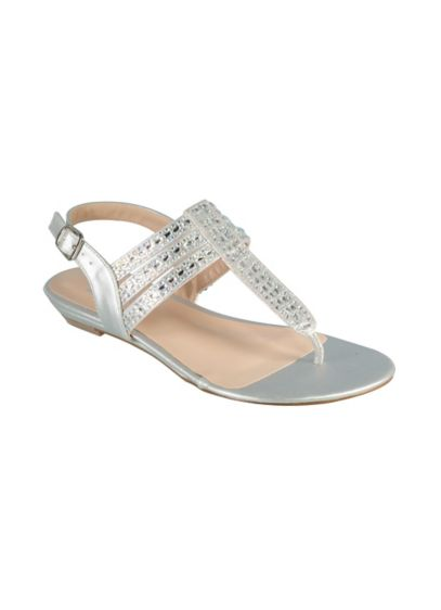 Strappy Slingback Sandals with Iridescent Crystals - Wedding Accessories