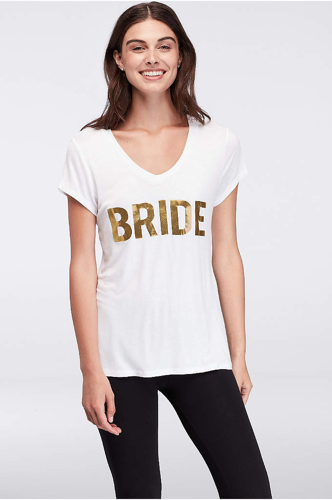 Bride V-Neck Tee - Bold gold lettering on this fun tee announces