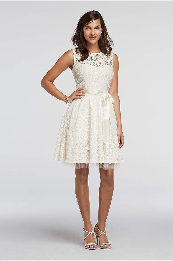 Lace A-Line Sleeveless Dress with Sash Detail