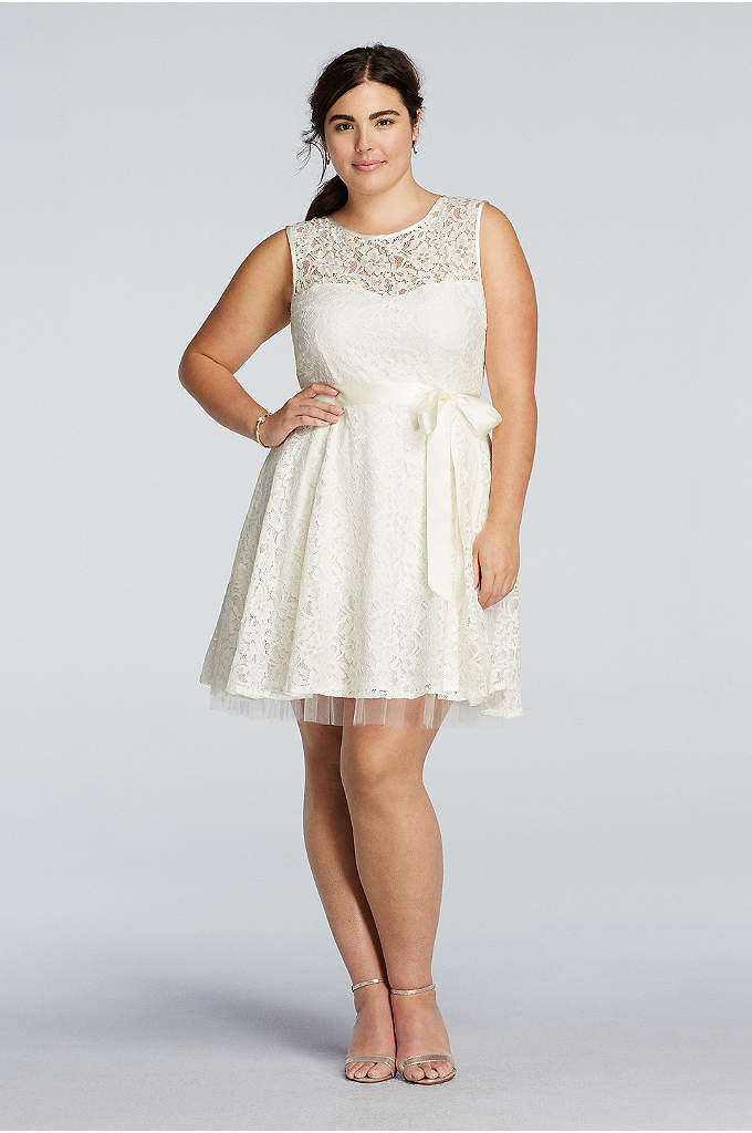Lace A-Line Dress with Sash Detail