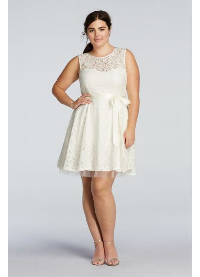Lace A Line Dress With Sash Detail Davids Bridal