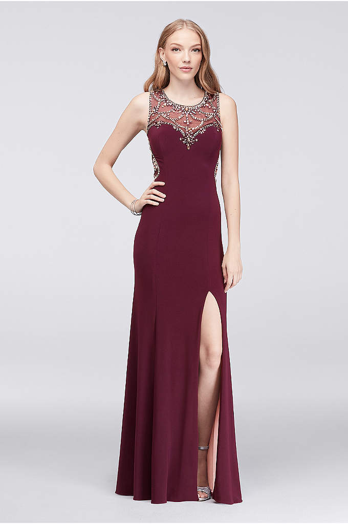 Illusion Low Back Prom Dress with Crystal Beading