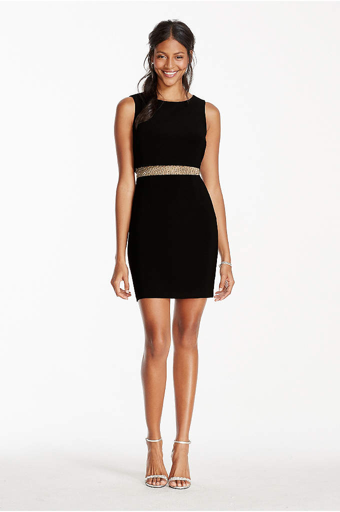 Illusion Beaded Waist Tank Pop-Over Jersey Dress