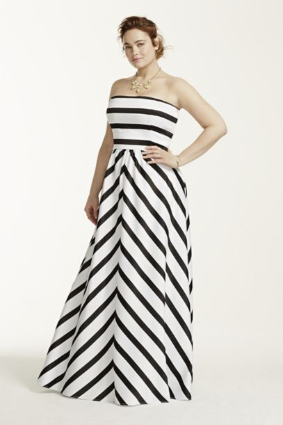 Strapless Striped Ball Gown David S Bridal