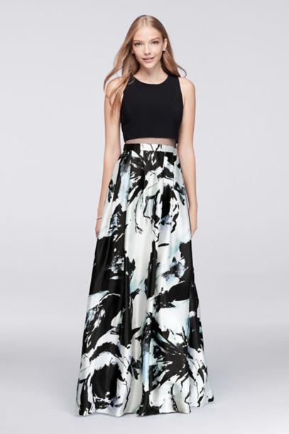 Mock Two Piece Ball Gown With Printed Skirt David S Bridal