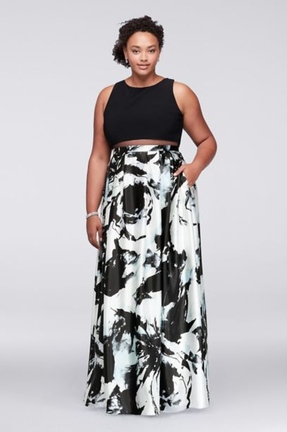 Mock Two Piece Plus Size Gown With Printed Skirt Davids Bridal
