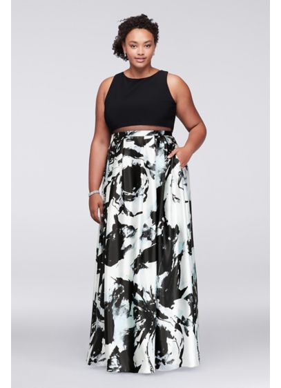 Mock Two-Piece Plus Size Gown with Printed Skirt | David\'s ...