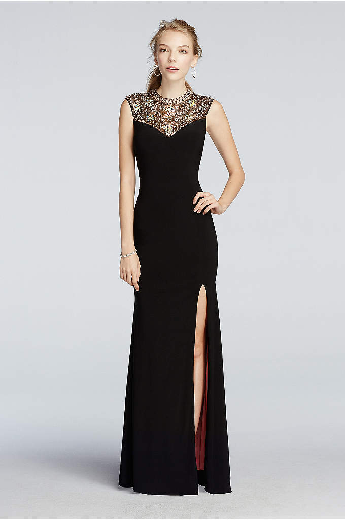 Beaded High Neck Tank Prom Dress with Side Slit 42b79e9a5