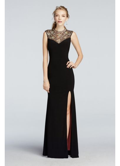 Beaded High Neck Tank Prom Dress with Side Slit | David\'s Bridal