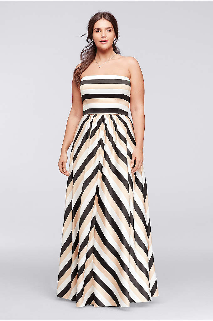 Striped Strapless Prom Dress with Pockets