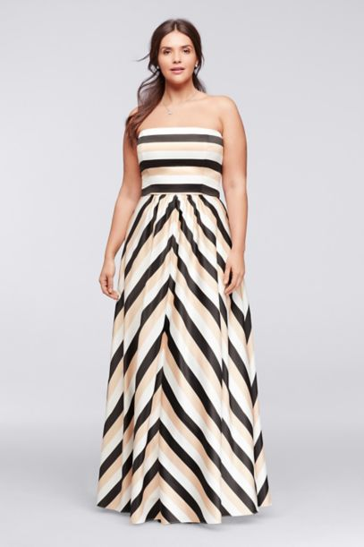 Striped Strapless Prom Dress With Pockets Davids Bridal