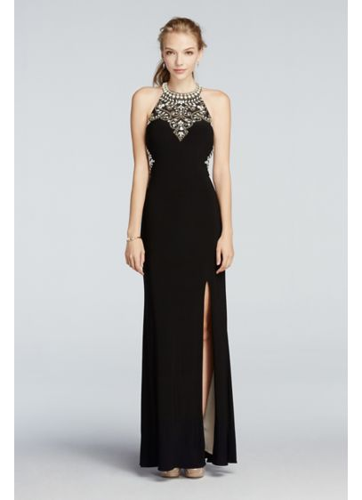 433f07fa31a ... Cut Out Jersey Prom Dress. A17648. Long Sheath Halter Daytime Dress -  Betsy and Adam