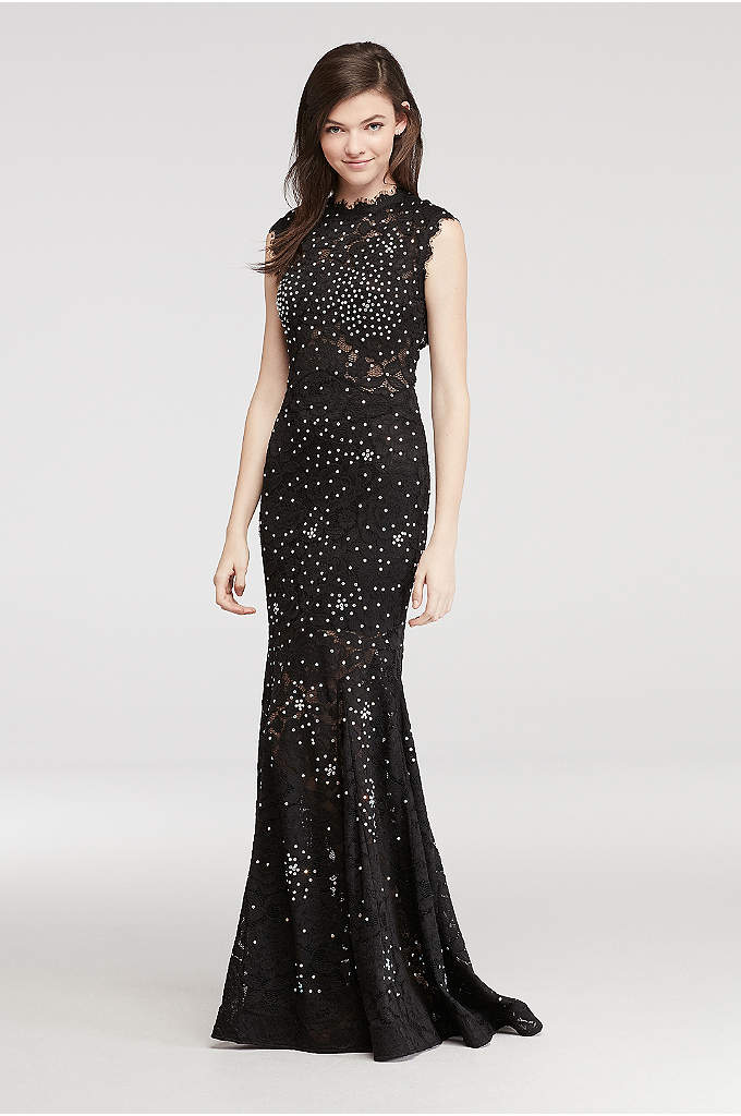 High Neck Lace Prom Dress with All Over Beading