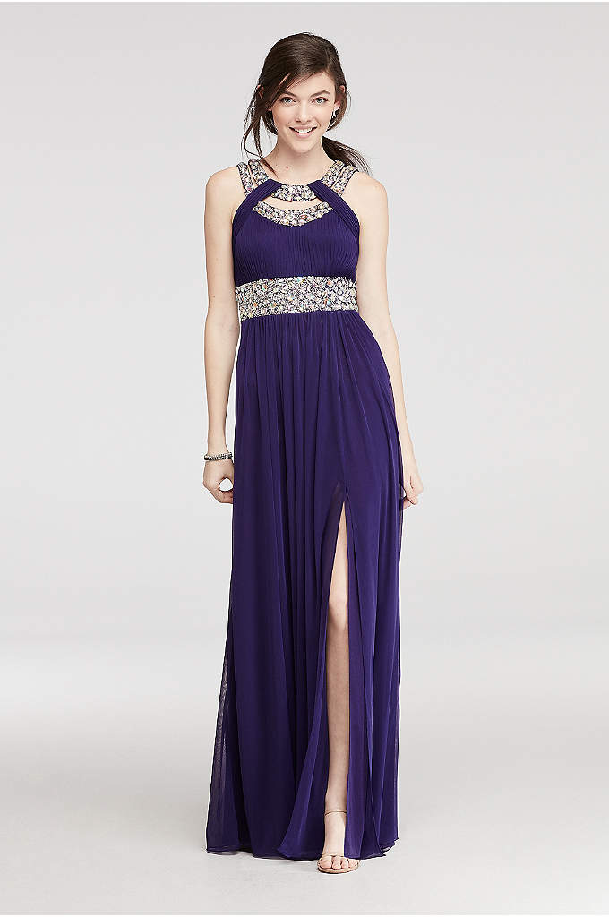 Crystal Beaded Cut Out Halter Prom Dress