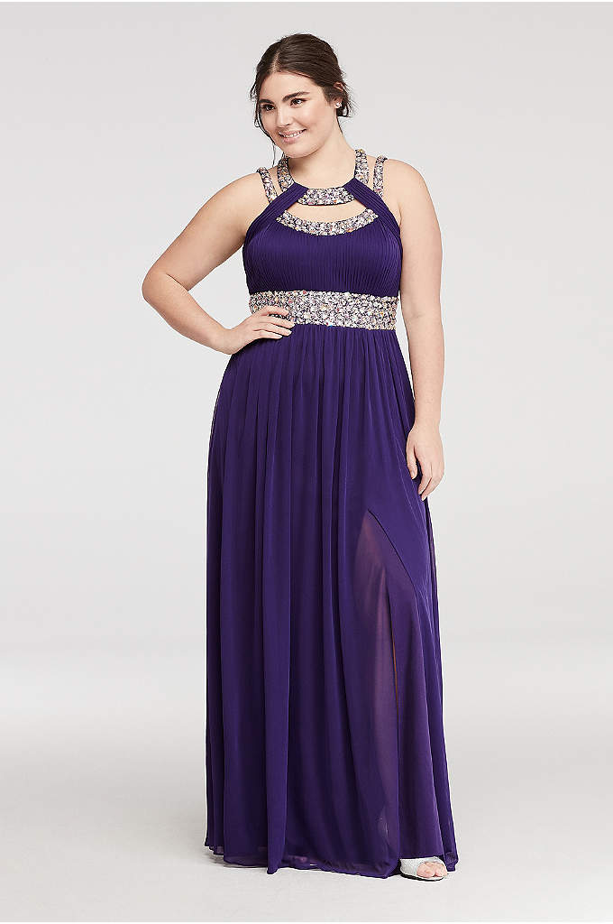 Crystal Beaded Halter Prom Dress with Cut Outs