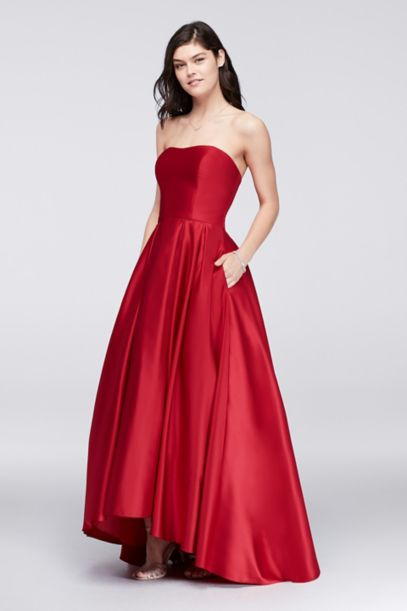 High-Low Lamour Satin Ball Gown | David's Bridal