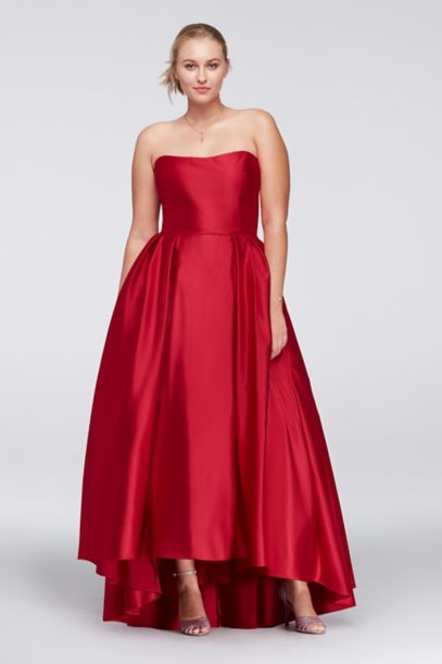 High Low Lamour Satin Plus Size Ball Gown Davids Bridal