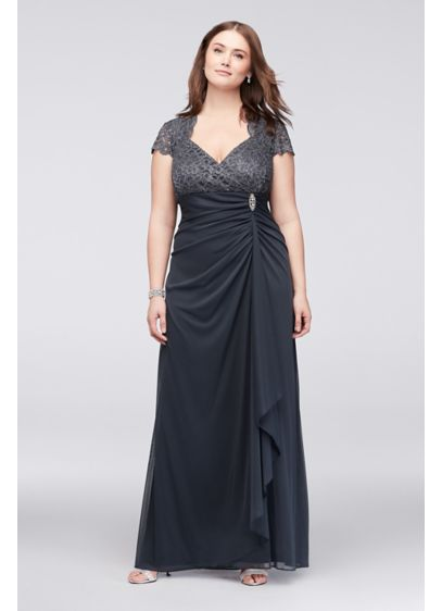 Gathered Jersey Plus Size Dress with Lace Bodice - This A-line dress sparkles from the scalloped glitter