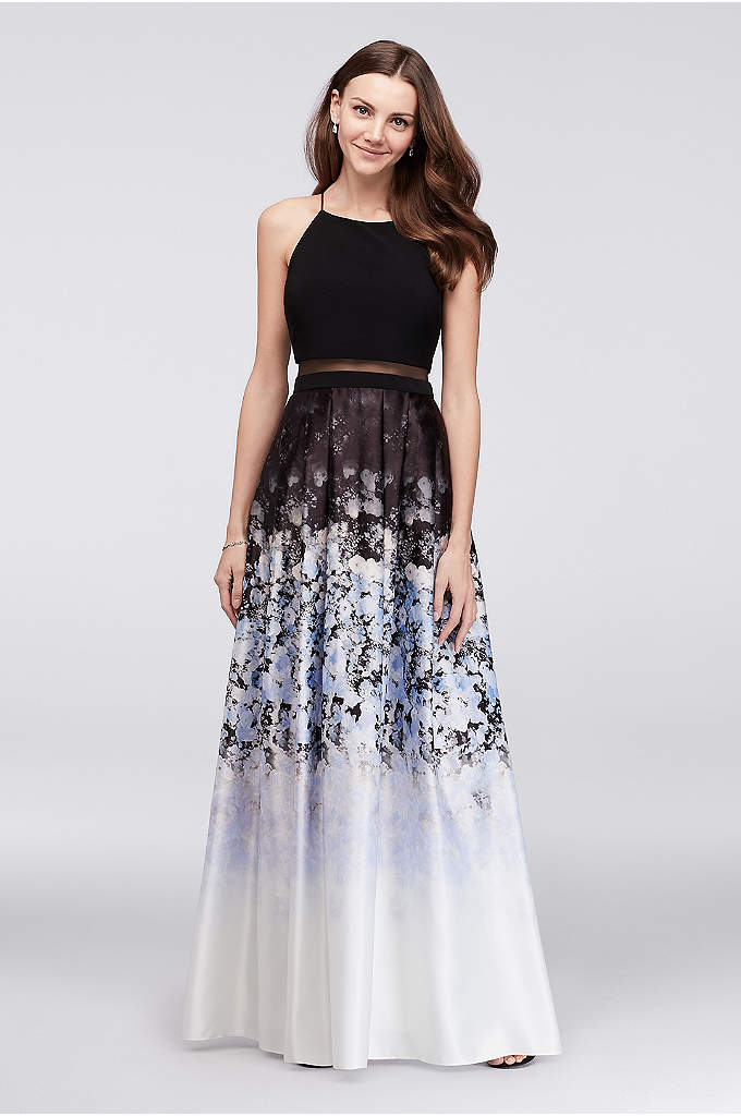 Jersey and Ombre Floral Charmeuse Ball Gown - The cool combination of bold flowers and an