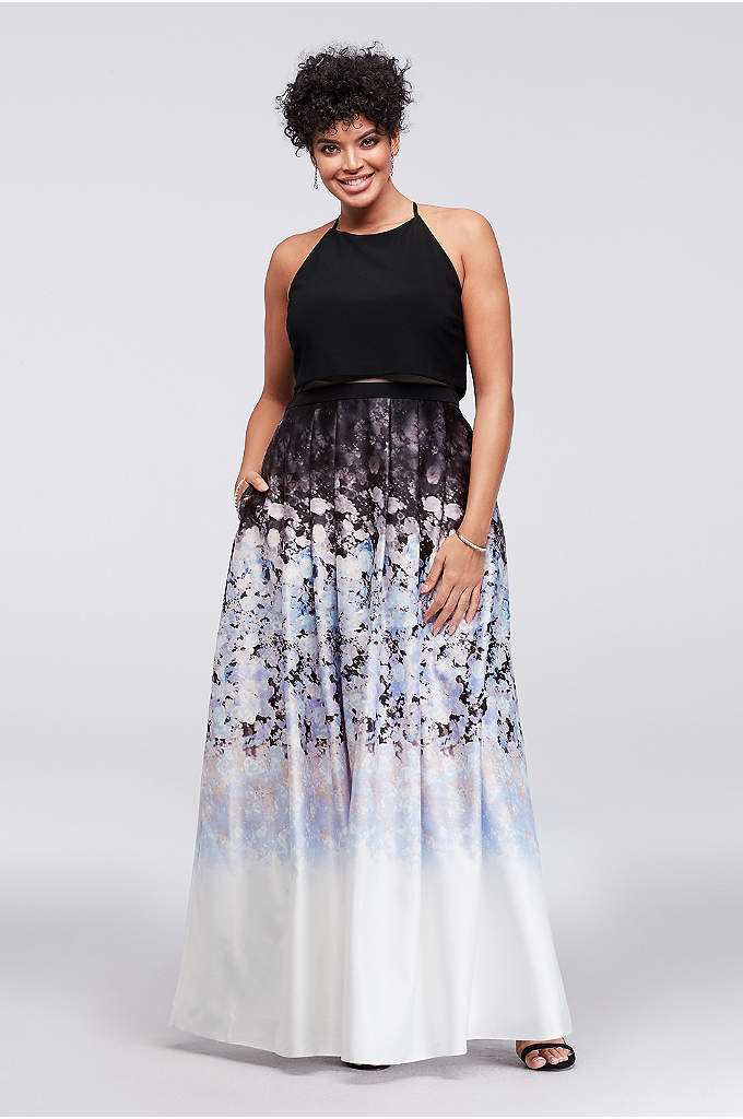 Jersey and Ombre Floral Charmeuse Plus Size Dress