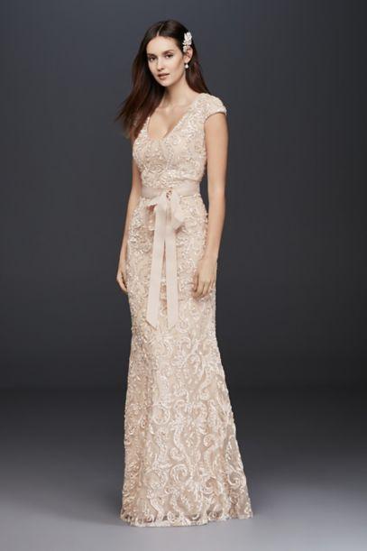 Cap Sleeve Soutache Lace Dress With Grosgrain Sash David