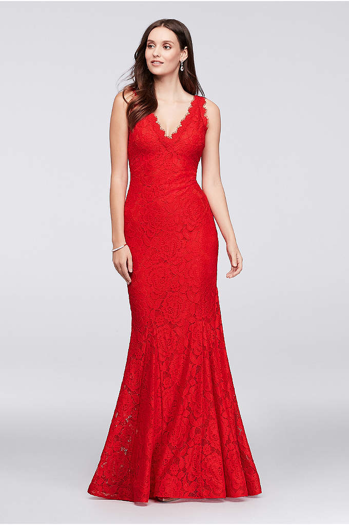 Allover Lace V-Neck Gown with Eyelash Trim - This flirty lace gown is designed with eyelash