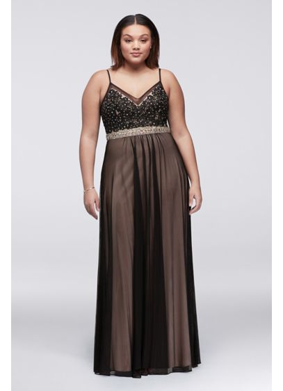 Lace and Mesh Plus Size Dress with Beaded Waist | David\'s Bridal