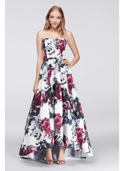 High Low Floral Satin Ball Gown David S Bridal
