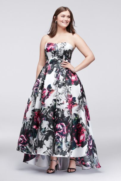 High Low Floral Satin Plus Size Ball Gown David S Bridal