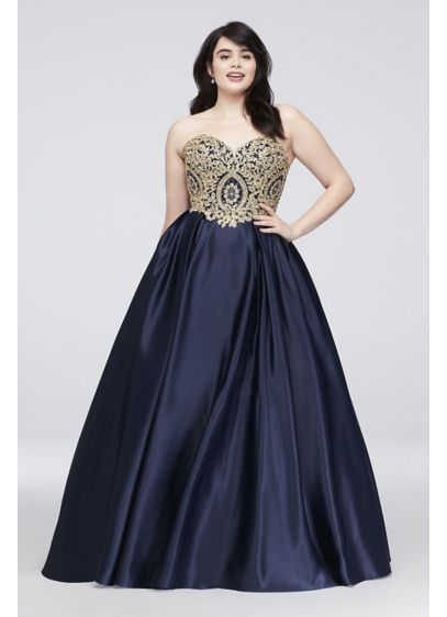Gold Corded Lace And Satin Plus Size Ball Gown David S