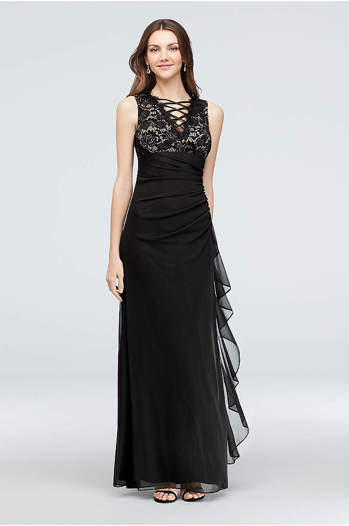 Lace-Up Neckline Gathered Chiffon Gown - This gathered chiffon and lace sheath dress gets