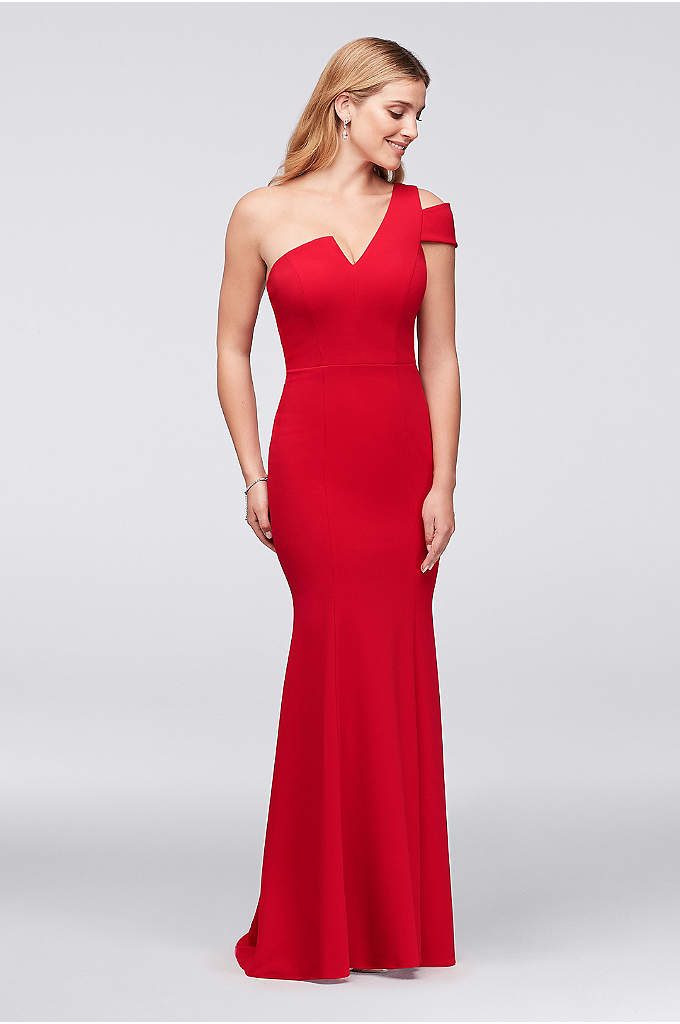 Asymmetric Notched Neckline Crepe Mermaid Gown - You'll be sure to be the star of