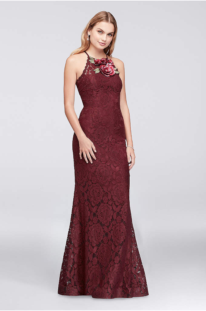 Floral Appliqued Illusion Lace Sheath Gown - Pretty 3D floral appliques bloom at the high
