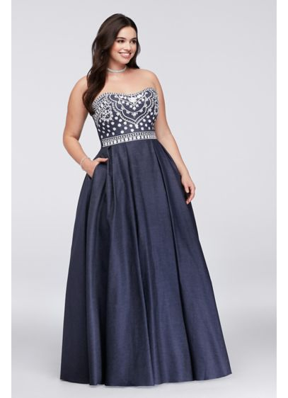 Embroidered Denim Plus Size Ball Gown