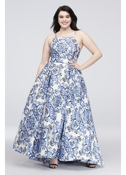 Printed Satin Plus Size Gown with Lace-Up Back