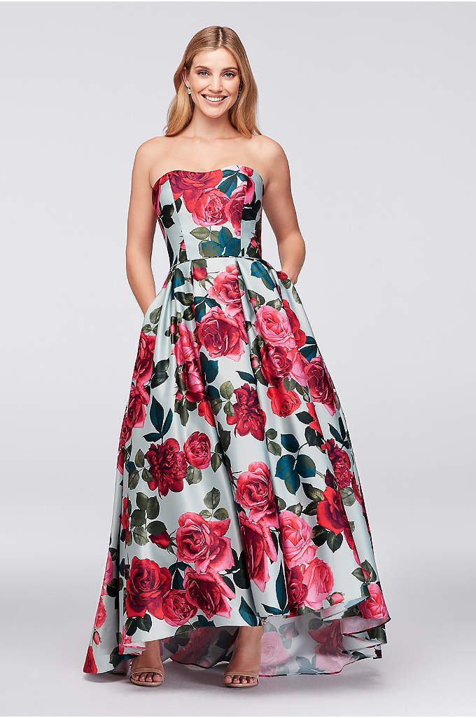 Bold Floral Satin Ball Gown - Take time to stop and smell the roses