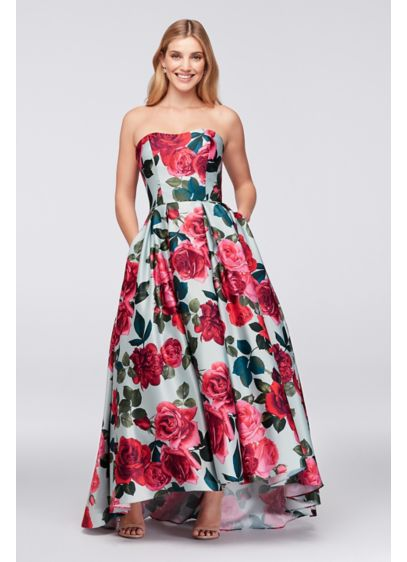 Bold Floral Satin Ball Gown Davids Bridal