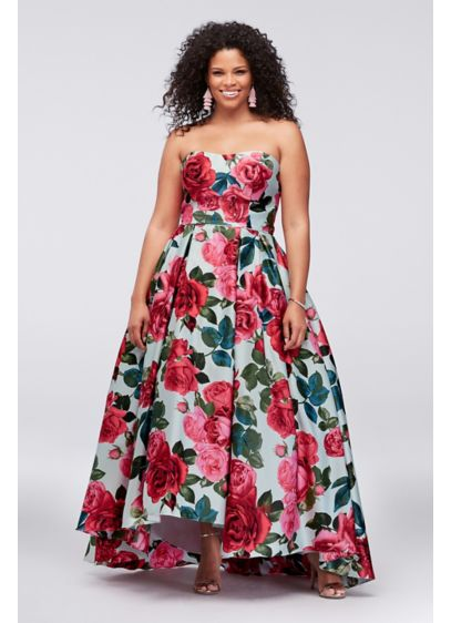 Strapless Plus Size Ball Gown with Lace-Up Back