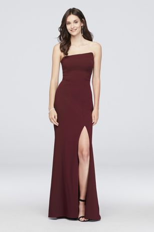 Long Sheath Strapless Dress - Betsy and Adam