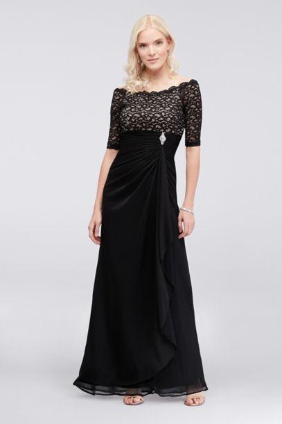 Off The Shoulder Dress With Ruched Cascade Skirt Davids Bridal